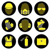 Occupational Safety and Health icons and signs set Stock Photo