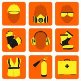 Occupational Safety and Health icons and signs set. Occupational Safety and Health vector icons and signs set. Protective helmet goggles, footwear, and Royalty Free Stock Photos