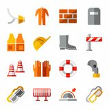 Occupational safety, personal safety, the colored icons. Stock Photography