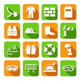 Occupational safety, personal safety, icons, colored, flat. Stock Photos