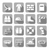Occupational safety, personal safety, icons, monochromatic, gray. Stock Photos