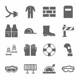 Occupational safety, personal safety, icons monochrome flat. Royalty Free Stock Photography