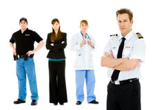 Occupations: Angry Pilot Leads Concerned Group. Extensive series featuring a multi-ethnic group of people in various occupations.  Includes policeman Stock Photo