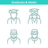 Occupations avatar set: doctor, medic, graduate, student.. Flat line professions userpic collection. Vector thin outline icons for profiles, web design, social Stock Photography