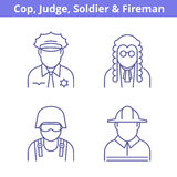 Occupations avatar set: judge, policeman, fireman, soldier.. Flat line professions userpic collection. Vector thin outline icons for profiles, web design Royalty Free Stock Image