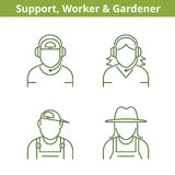 Occupations avatar set: support operator, workman, gardener.. Flat line professions userpic collection. Vector thin outline icons for profiles, web design Royalty Free Stock Images