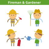 Occupations cartoon character set: fireman and gardener. Vector. Occupations cartoon character set: fireman, firefighter and gardener worker. Vector flat rescue Royalty Free Stock Photography