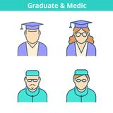 Occupations colorful avatar set: doctor, medic, graduate. Thin o. Occupations colorful avatar set: doctor, medic, graduate, student. Flat line professions Royalty Free Stock Image