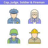 Occupations colorful avatar set: judge, policeman, fireman, sold. Ier. Flat line professions userpic collection. Vector thin outline icons for profiles, web Stock Photos