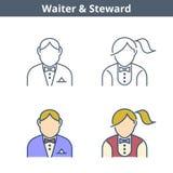 Occupations linear avatar set: waiter, steward. Thin outline ico. Occupations colorful avatar set: waiter, steward. Flat line professions userpic collection Stock Photos