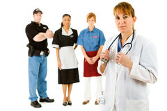 Occupations: Doctor Leads Concerned Group of Various Occupations. Extensive series featuring a multi-ethnic group of people in various occupations.  Includes Stock Image