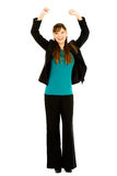 Occupations: Excited Busnesswoman Cheering Royalty Free Stock Image