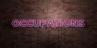OCCUPATIONS - fluorescent Neon tube Sign on brickwork - Front view - 3D rendered royalty free stock picture Royalty Free Stock Photo