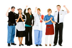 Occupations: Group of Various Businesspeople Cheering. Extensive series featuring a multi-ethnic group of people in various occupations.  Includes policeman Stock Photo