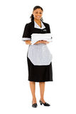 Occupations: Housekeeper with Stack of Towels. Extensive series featuring a multi-ethnic group of people in various occupations.  Includes policeman, housekeeper Royalty Free Stock Image