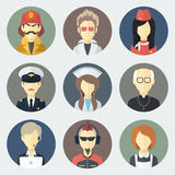 Occupations Icons Set. Set of Circle Flat Icons with Man of Different Professions Royalty Free Stock Images