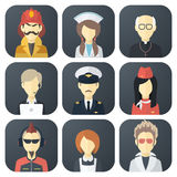 Occupations Icons Set. Set of App Flat Icons with Man of Different Professions Royalty Free Stock Photo