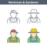 Occupations linear avatar set: workman, gardener. Thin outline i. Occupations colorful avatar set: workman, gardener. Flat line professions userpic collection Royalty Free Stock Photos