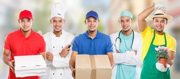 Occupations occupation education training profession doctor cook group of young people latin man job town. City royalty free stock photo
