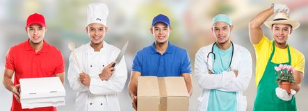 Occupations occupation education training profession doctor cook young latin man job town. City stock photo