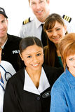 Occupations: People in Various Occupations Together. Extensive series featuring a multi-ethnic group of people in various occupations.  Includes policeman Royalty Free Stock Photography