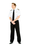Occupations: Pilot Looks to Side. Extensive series featuring a multi-ethnic group of people in various occupations.  Includes policeman, housekeeper, doctor Royalty Free Stock Image