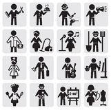 Occupations and professions set. Vector black occupations icons set on gray Royalty Free Stock Image