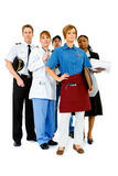 Occupations: Serious Waitress Leads Group Royalty Free Stock Photography