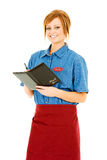 Occupations: Smiling Server with Check Folder Royalty Free Stock Image