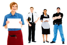 Occupations: Waitress Holds Up Blank Sign. Extensive series featuring a multi-ethnic group of people in various occupations.  Includes policeman, housekeeper Stock Image