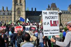 Occupez l'anniversaire de protestation à Ottawa images libres de droits