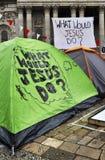 Occupez le campement de Londres à la cathédrale de rue Paul Photos libres de droits