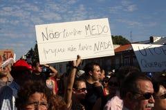 Occupez Lisbonne - protestations globales le 15 octobre de la masse Photos stock