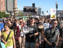 Occupi i protestatori del megafono di Boston Immagine Stock Libera da Diritti