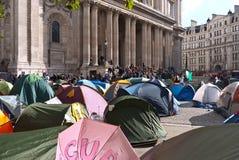 Occupi i protestatori di borsa valori di Londra Fotografia Stock