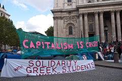 Occupi i protestatori di borsa valori di Londra Immagine Stock Libera da Diritti