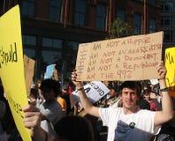 Occupi i segni di marzo della via di Boston Fotografia Stock Libera da Diritti