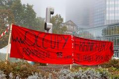 Occupi le proteste di Francoforte Immagine Stock Libera da Diritti