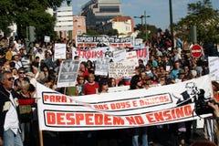 Occupi Lisbona - le proteste globali il 15 ottobre della massa Fotografie Stock Libere da Diritti