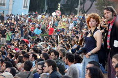 Occupi Lisbona - le proteste globali il 15 ottobre della massa Immagini Stock Libere da Diritti