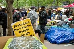 Occupi Wall Street alla sosta di Zuccotti Fotografie Stock Libere da Diritti