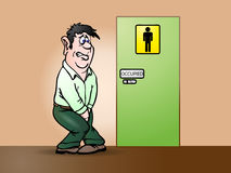 Occupied. Conceptual illustration of a man need a pee waiting in front of bathroom sign Stock Photo