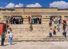 Mitla ruins popularity in Mexico. Occupied by Mystec and Zapotec civilizations during 14th century, after by Aztecs in 1494. It was a religious centre where royalty free stock photography