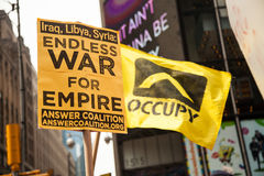 Occupied. New York City protest of Syrian invasion Royalty Free Stock Photos