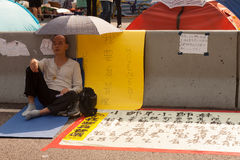 Occupy Central in Admiralty. HONG KONG- NOVEMBER 1: pro-democracy protester in Admiralty on November 1, 2014. Protesters are fighting for truly free elections Royalty Free Stock Photos