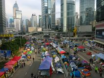 Occupy Central Camp. HONG KONG, DEC. 8, 2014: A view of the main Occupy Central camp in Admiralty a few days before it is cleared by the government. The stock photography