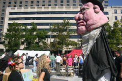 Occupy DC -. DC - OCTOBER 9: Activists prepare for a puppet show at the Occupy DC demonstration in Freedom Plaza, Washington, DC October 9, 2011. Occupy DC is an Royalty Free Stock Photo