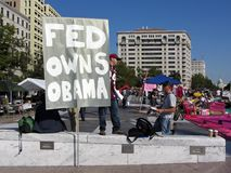 Occupy DC Protest Sign. Photo of protest sign a the occupy dc protest at freedom plaza in washington dc on 10/7/11. This sign attacks the president. Occupy dc is royalty free stock photo