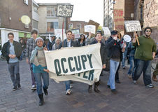 Occupy Exeter arrive at the occupy E Stock Photography