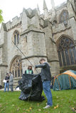 Occupy Exeter participants erect their tents Royalty Free Stock Photography